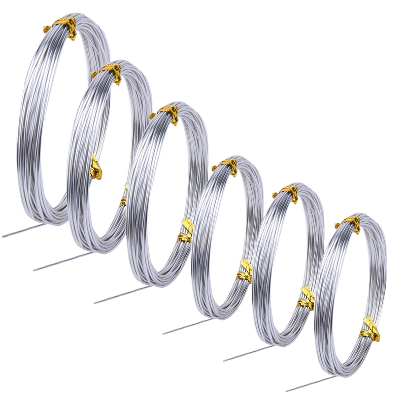 SHGO HOT-6 Rolls Silver Aluminum Bonsai Training Wire Craft Wire Soft And Flexible Metal Armature Wire For DIY Manual Arts And C