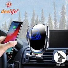 Deelife suporte do telefone móvel do carro 15w carregador sem fio de fixação automática ventilação ar painel montagem telefone celular suporte smartphone