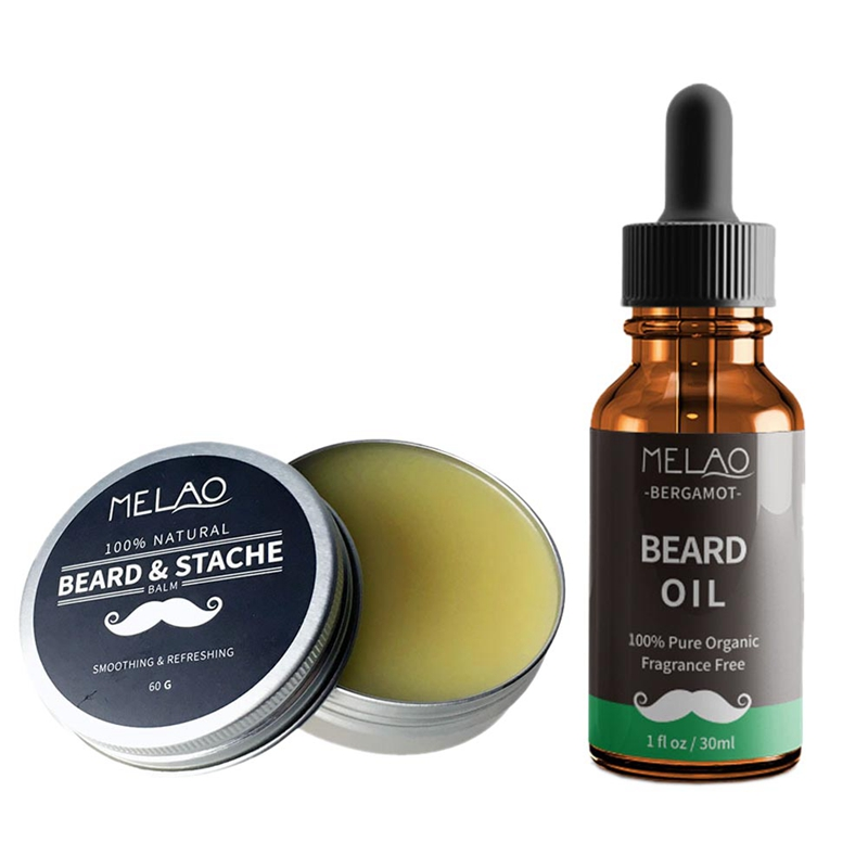ABVP Melao 2Pcs/Set Men'S Beard Oil Strengthens Healthy Beard Growth And Moroccan Nut Oil Wax Improves Glossy Lasting Men'S Bear