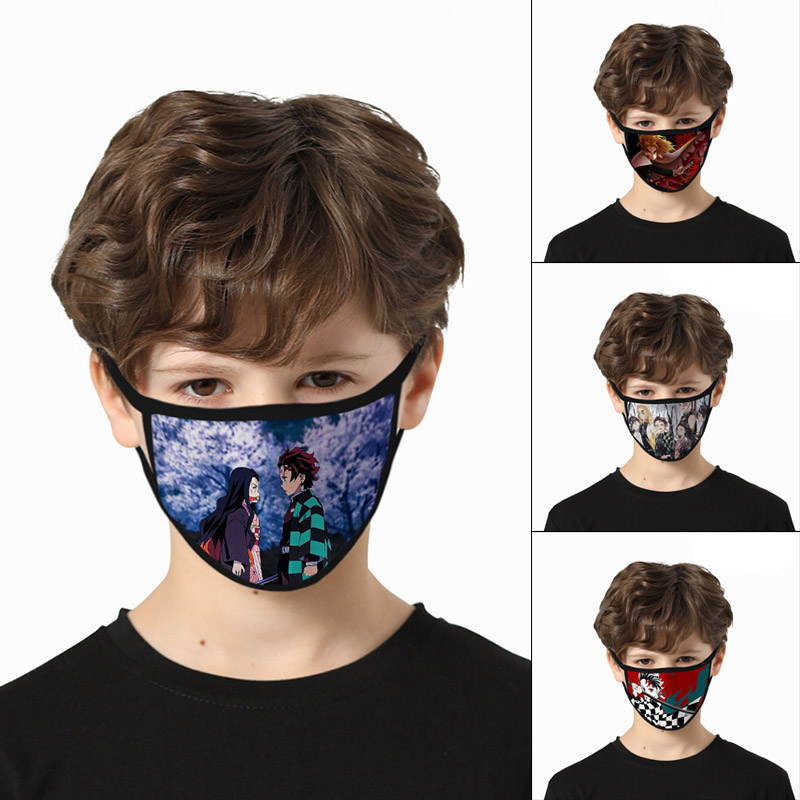 Anime Demon Slayer: Kimetsu No Yaiba  Cartoon Printing Mouth Mask Cotton Reusable Cover Breathable Face Mask Washable Dropship