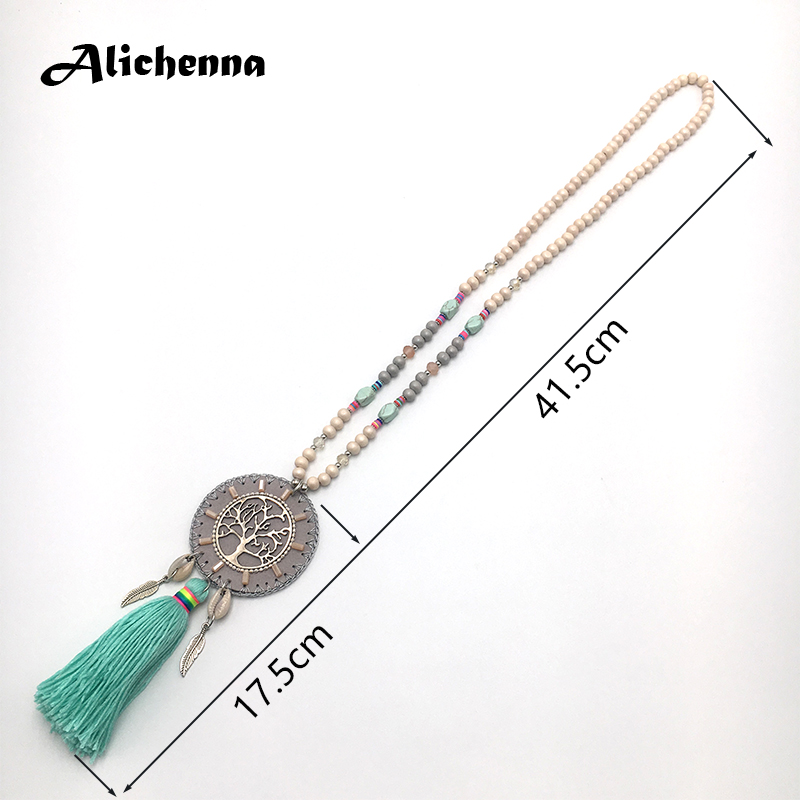Women Long Tassel Necklace Bohemian Boho Wooden beads Alloy ChainTassel Pendant Necklace Latest popular styler