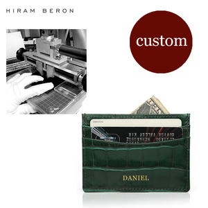Image 2 - Hiram Beron Genuine Leather Card Holder Men Cow Leather With Crocodile Pattern Wallet Free Custom Name ID Credit Card Wallet