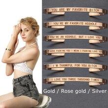 FAVORITE Engraved Bangle I LOVE YOU Stainless Steel Letter Bracelet Fashion Bar Charm Cuff Bracelets Lover Women Best Gift