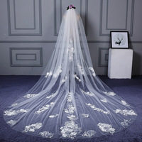 2020 Wholesale Bridal Veil New 3m Veil Lace Wedding Tail Bridal Veil Eslieb HC014