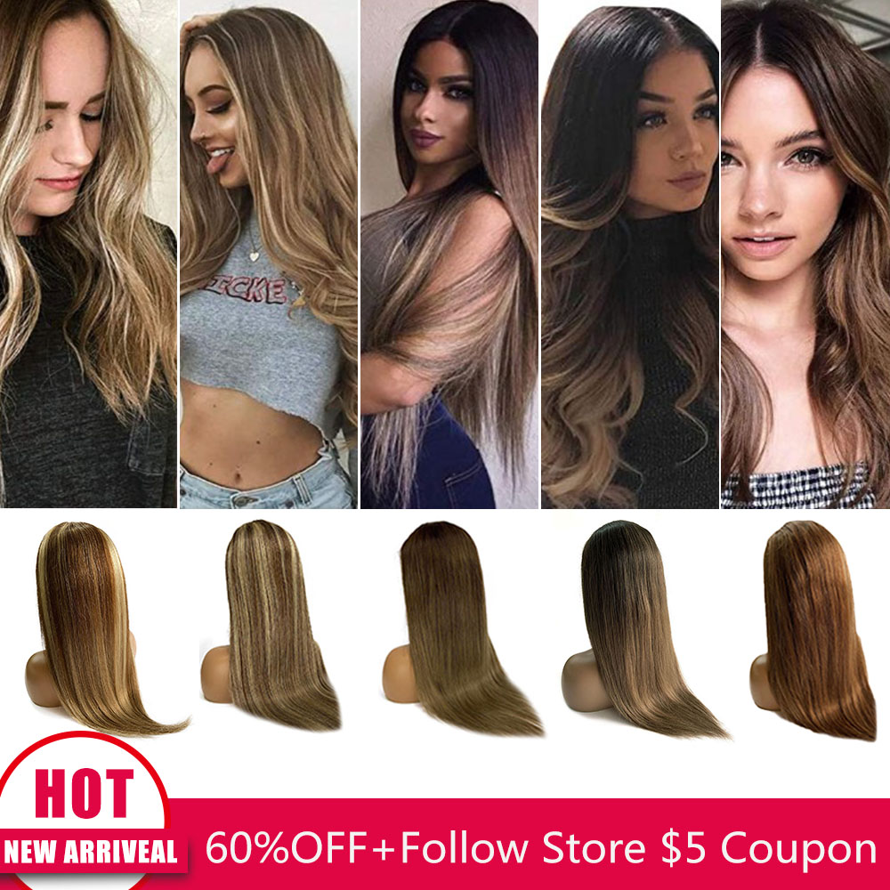 Highlight Straight Lace Front Human Hair Wig Brazilian Virgin Remy Ombre Pre-plucked Balayage Hair Honey Blonde Black Women Wigs
