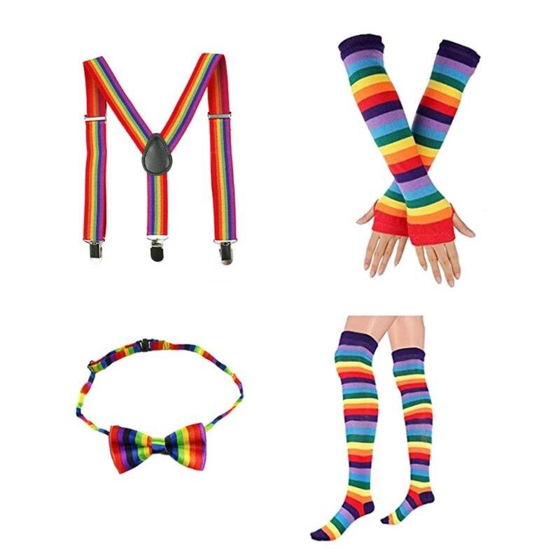 4 In 1 Adult Kids Rainbow Costume Set Stripes Socks Long Gloves Suspender Bowtie LX9E
