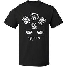 Queen Rock Band T-Shirt Bohemian Rhapsody Freddie Mercury Vintage Throwback Logo Men Casual Short Sleeve T Shirt sbz1064