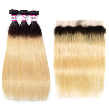 Bestsojoy 613 Blonde Bundles With Frontal Brazilian Straight With Frontal Blonde Human Hair Lace Frontal Closure With Bundles