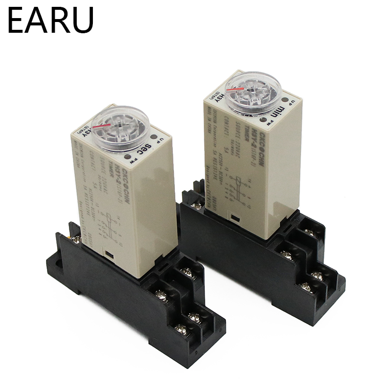 Hc80b2f2d6e2c4cf48e40ef2320a7ee4cl - 1pcs H3Y-2 AC 220V Delay Timer Time Relay Switch 0 - 30 Minute/Seconds Adjustable 5A With Base Socket Rotary Knob DPDT