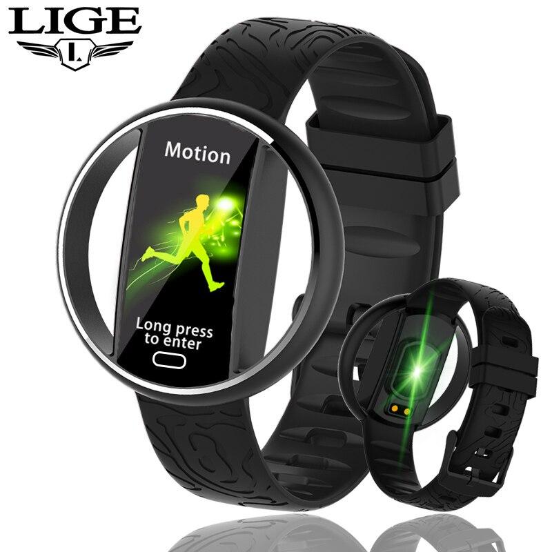 LIGE nouvelles femmes Montre intelligente hommes IP68 étanche Sport Fitness tracker multifonctionnel LED couleur tactile Smartwatch Montre homm + boîte