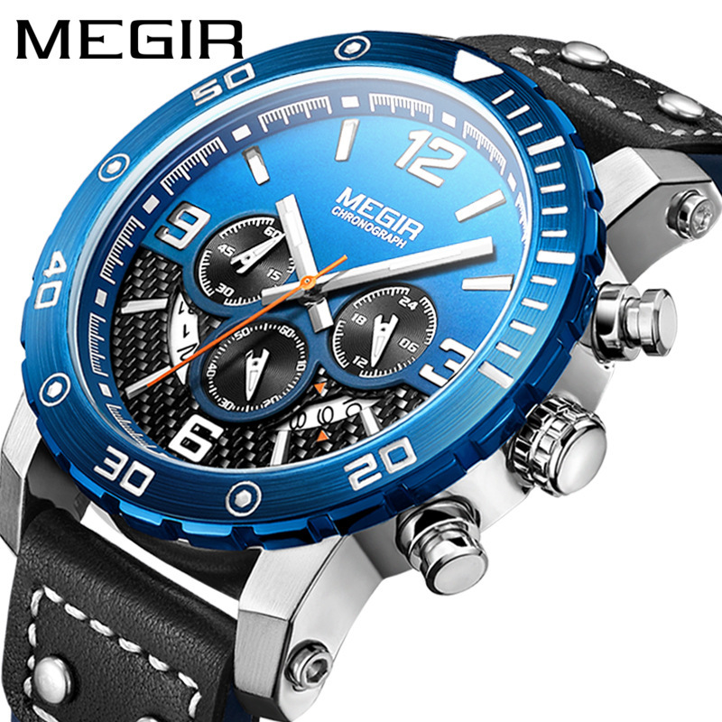 <font><b>MEGIR</b></font> Watch Men Luxury Men's Watch Sports Chronograph Luminous Waterproof Watch Quartz Wrist Watch montre homme Clock <font><b>2020</b></font> image