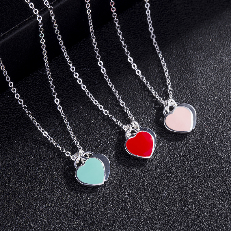 Double Heart Pendant Necklace Pure S925 Sterling Silver Jewelry Charm Brand Design Necklaces For Women Logo Fashion Jewelry