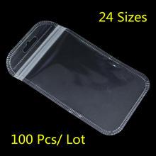 100 Pz/lotto di Plastica Trasparente Sacchetti Della Chiusura Lampo Per Gli Accessori Elettronici Storage Zip Serratura Richiudibile Poly Cornici E Articoli Da Esposizione di Generi Alimentari Sacchetto del Foro di Caduta