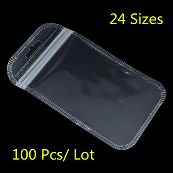 100PCS/ Lot Clear Plastic Zipper Bags For Electronic Accessories Storage Zip Lock Resealable Poly Grocery Package Bag Hang Hole 3000pcs lot 12 20cm gold silver self seal zipper plastic retail packaging storage bag zip lock plastic bag w hang hole
