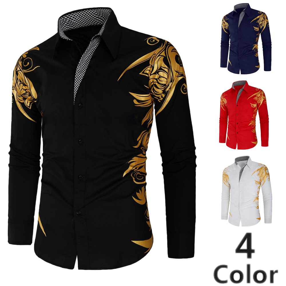 Brand Casual Shirts Men 2019 Fashion Hot Stamping Long Sleeve Dress Shirt Cotton Luxury Camisa Masculina Hip Hop Streetwear