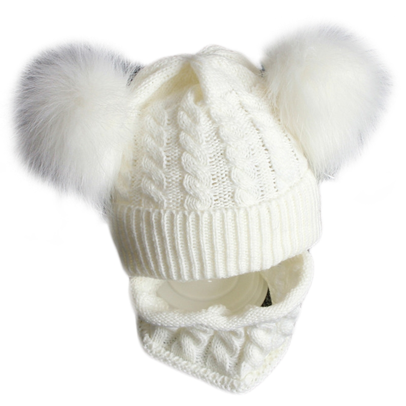 2Pcs Toddler Baby Winter Chunky Knit Double Pompom Beanie Hat Circle Scarf Set