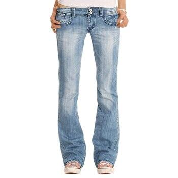 Ladies Denim Trousers jean Low Waist Flared Pants Long Jeans Wide Leg Stretch Slim Flare Pants Casual Light Blue Large Size 2020