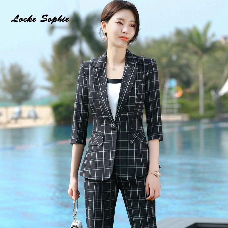1pcs Womens plus size Blazers coats 2020 Spring Cotton blend plaid Splicing Slim fit jackets ladies Skinny Small Blazers Suits