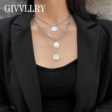Chunky Chain Choker Multilayered Chains Statement Necklace Vintage Gold Embossed Queen Coin Pendant Necklaces Women Jewelry meibeads vintage carved gold coin roman necklace for women bohemian pendant necklaces boho jewelry choker statement necklaces