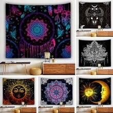 Sol e lua decoração tapeçaria mandala cobertor parede pendurado grande montado barato boemio loja monternet