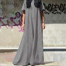 Las mujeres de verano de manga corta vestido 2021 ZANZEA Casual de punto a rayas vestido suelto cuello O una línea de Vestidos de talla grande mujer bata 5XL