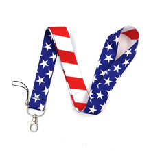 Flag of the United States Mobile Phone Straps Lanyard For Keys Cord Neck Strap USB ID Card Badge Holdrer Keychain Lanyards dmlsky kiki s delivery service lanyard keychain anime lanyards for keys badge id mobile phone rope neck straps gifts m3865