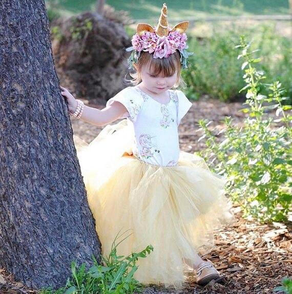 Unicorn Girl long Tutu black Skirt Lovely Princess Girls Birthday Party Skirts Photos ball gown costume clothing invory 4