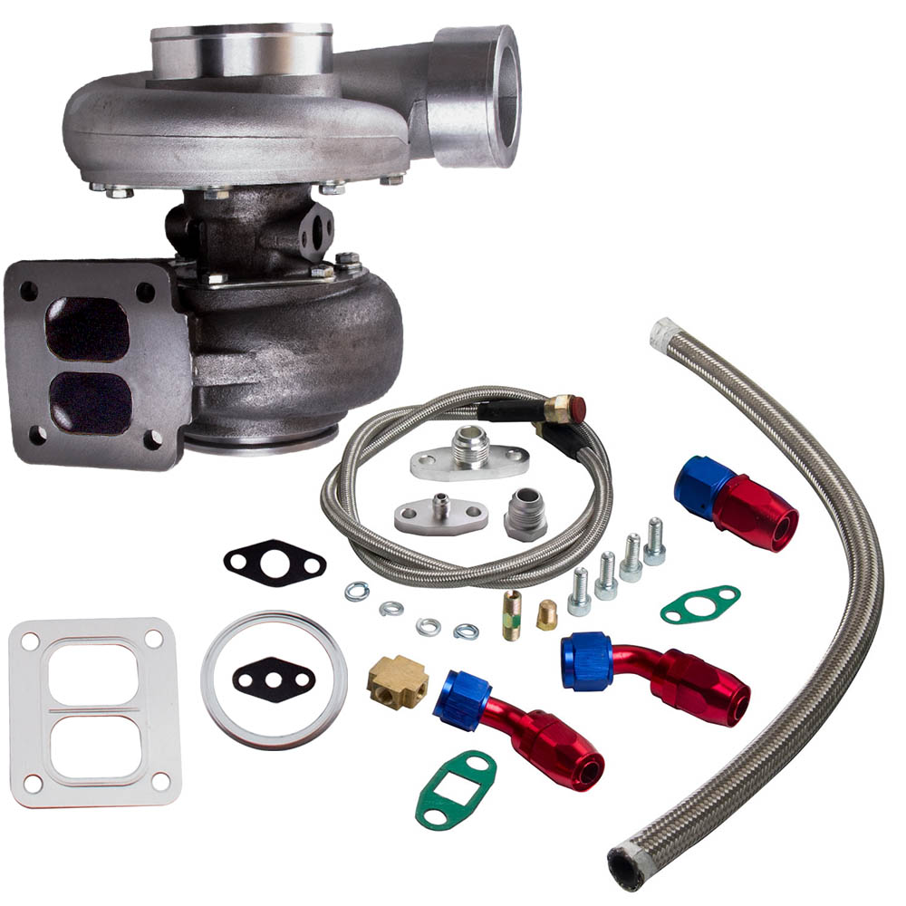 GT45 T4/T66 Racing V Band Turbo Charger + Olie Afvoer Feed & Return Lijn Kits Turbo tot 600 Hp 1.05 A/R 98 Mm - 2