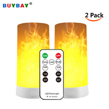 2pcs/lot LED Night Light Bulb Flame Effect Lights Rechargeable Portable 3D Dynamic Emulation Fire Flickering Lamp led Retro Atmosphere Home Decor Lighting(China)