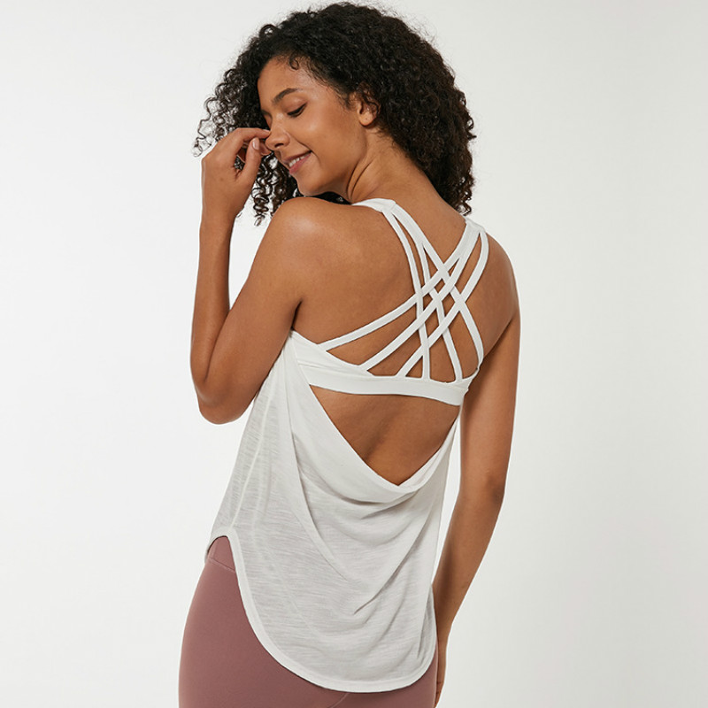 NWT Back Cross Running Fitness Tank Tops Women <font><b>Padded</b></font> Training Gym Sport Vest Sleeveless <font><b>Shirts</b></font> with Removable built in <font><b>bra</b></font> image