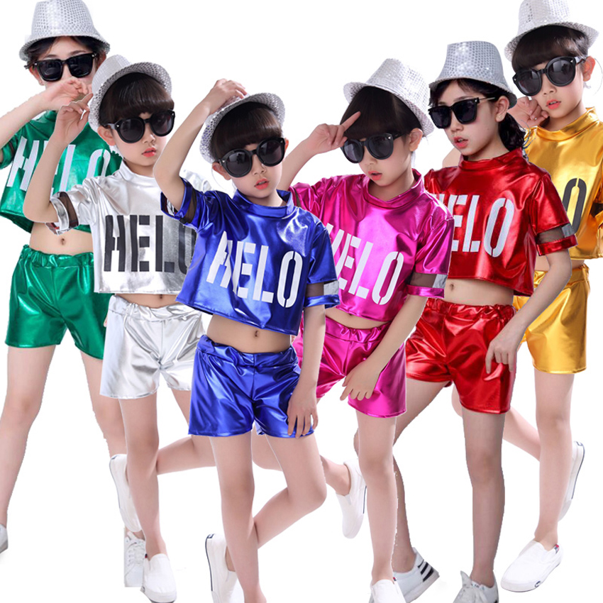 Children Modern Jazz Dance Costumes Ballroom Kids Girls Cheerleading Clothing Boys Tops+shorts Stage Wear Performance