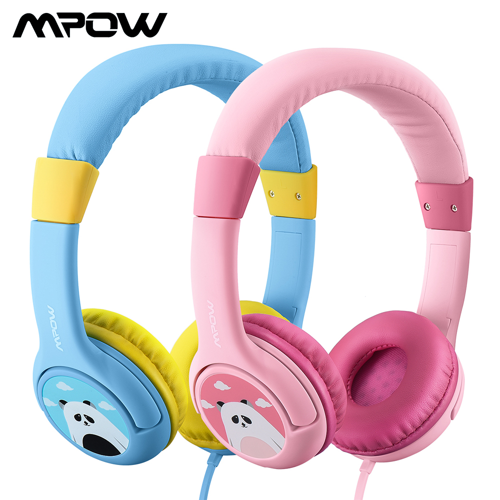 Mpow BH178 Kids Hearing Protection Headphones Wired Cute Panda Volume Limited Headset With Share Port&Microphone For IPhone IPod