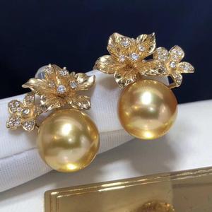 Image 5 - ファインジュエリー 1103 純粋な 14 18k ゴールド天然海ゴールデン真珠 11 10 ミリメートルスタッドピアスのための真珠のイヤリング