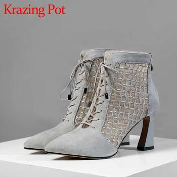 Krazing pot new breathable sheep leather air mesh pointed toe high heels butterfly-kont sunscreen lace up ankle summer boots L90