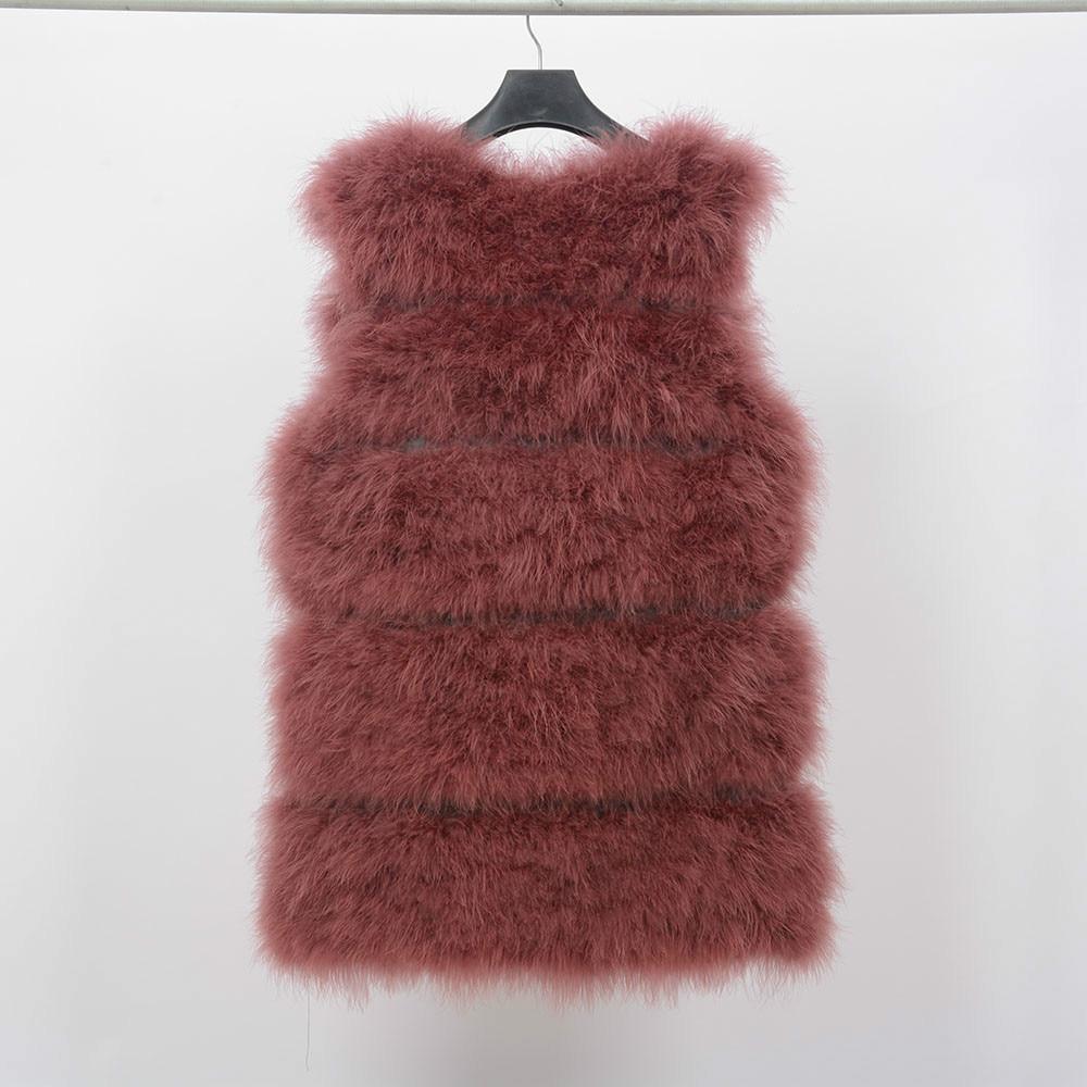 Жилет из натурального меха страуса, зимний теплый жилет, Модный женский меховой жилет - Цвет: wine red