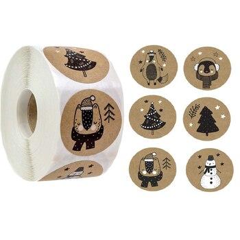 100-500 шт 6 видов конструкций 1 дюйм по индивидуальному заказу, Рождественская тема этикетки для печати наклейки для DIY подарок для выпечки, упаковка для канцелярский конверт украшения