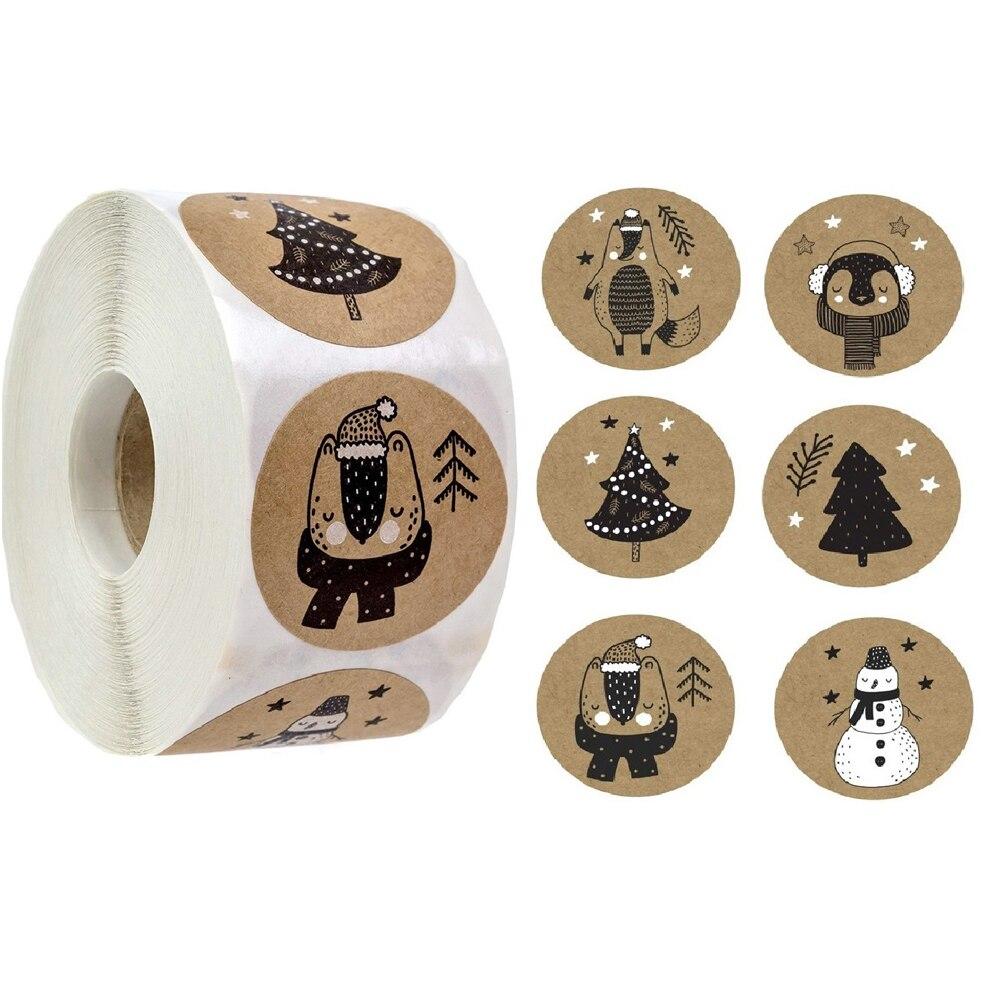 100-500 шт 6 видов конструкций 1 дюйм по индивидуальному заказу, Рождественская тема этикетки для печати наклейки для DIY подарок для выпечки, упа...