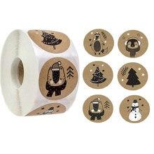 100-500 pçs 6 projetos 1 Polegada tema natal selo etiquetas adesivos para diy presente pacote de cozimento envelope papelaria decoração