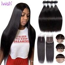 ישר שיער טבעי חבילות עם סגירה פרואני שיער Weave חבילות עם סגירת שיער הארכת רמי ארוך שיער 30 38 אינץ