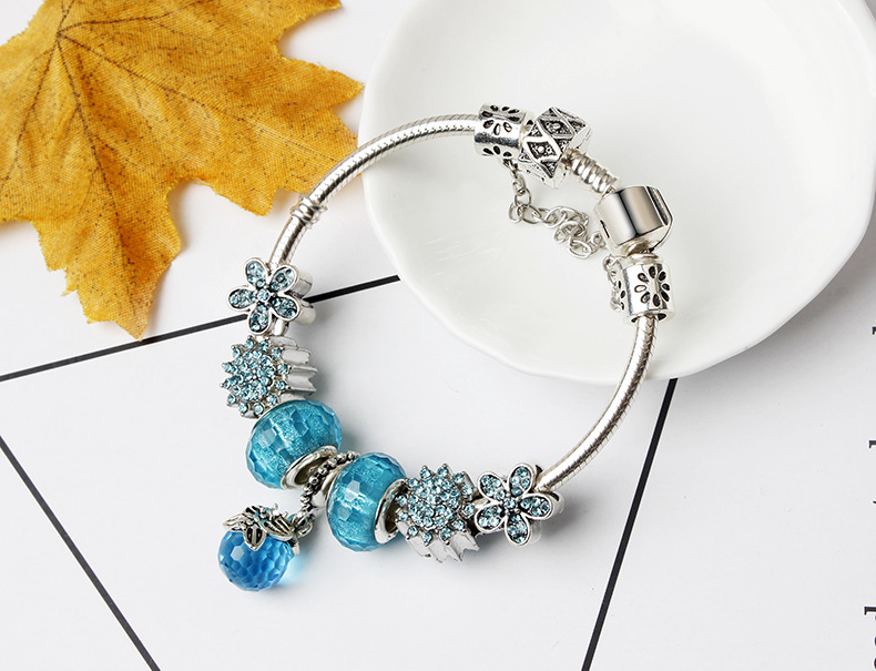 2020 New Original Jewellery Brand European Style Flower Crystal Ball Charm Beads Fit European Pan Bracelets For Women