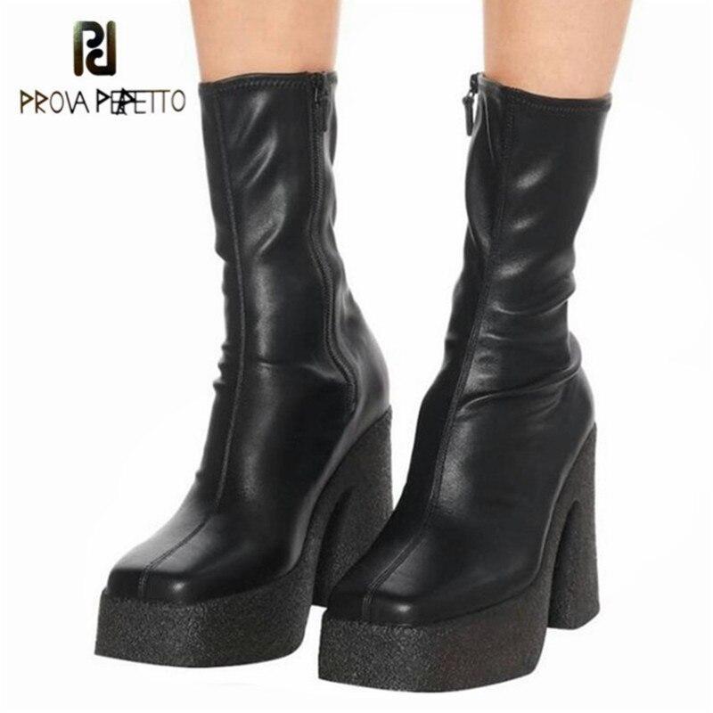 Prova perfetto moda estiramento botas de couro para as mulheres sexy cor sólida dedo do pé quadrado salto alto plataforma senhoras ankle boots 2020