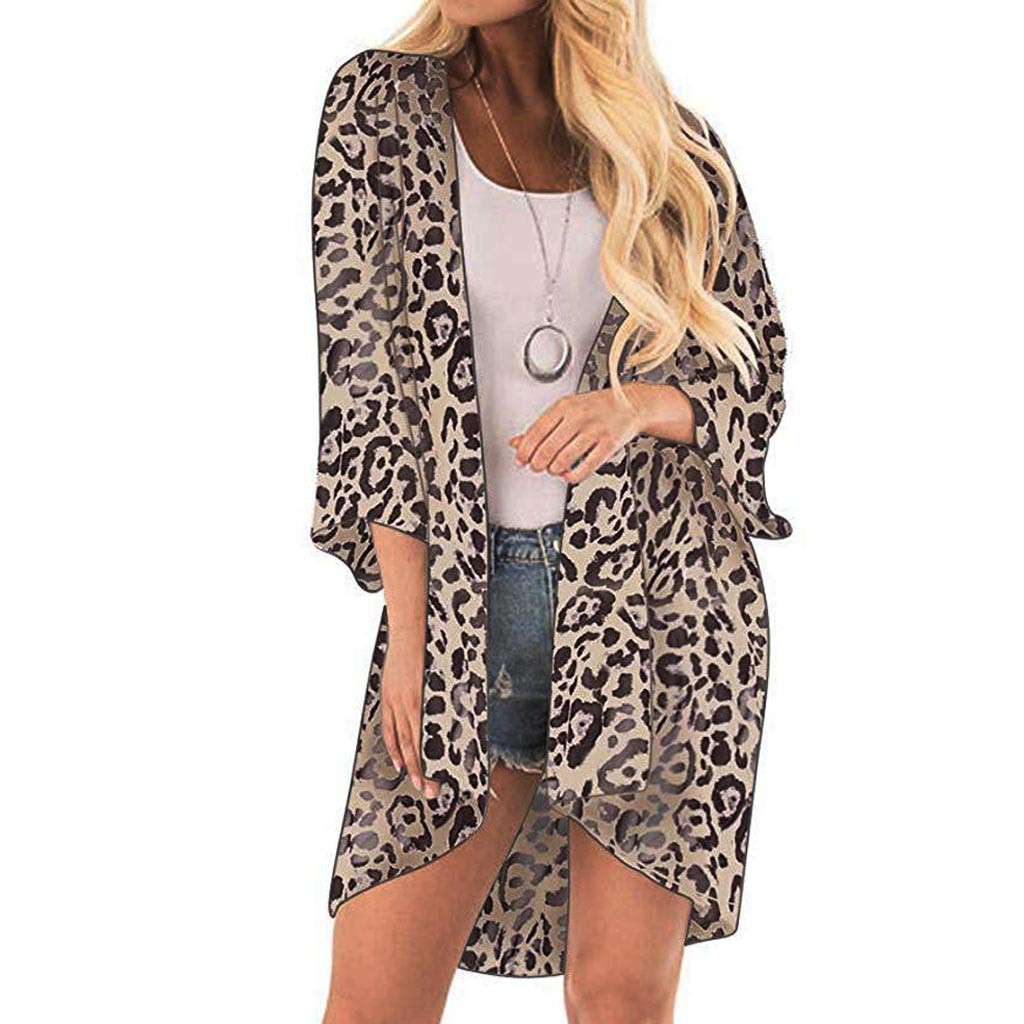 Casual Cover Snake Skin Leopard Bikini Women Swimsuit Cover-up Beach Bathing Suit BeachWear Swimwear Beach Dress Tunic Robe #F
