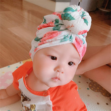 Baby dount turban hat Knit top knot hair bow Toddler headwrap Infant beanie Newborn hospital Bun Hat H264D
