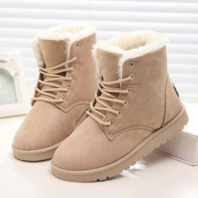 Ayakkabı kadın botları kış sıcak kar botları kadın Faux süet yarım çizmeler kadın kış ayakkabı Botas Mujer peluş Zapatos De mujer