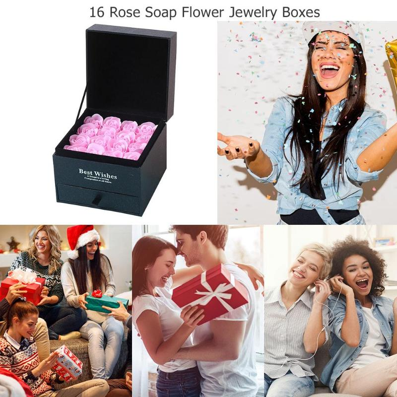 Rose Soap 16Pcs Scented Rose Flower Petal Bath Body Soap Wedding Party/Christmas Gift Best Decoration Case Festival Box