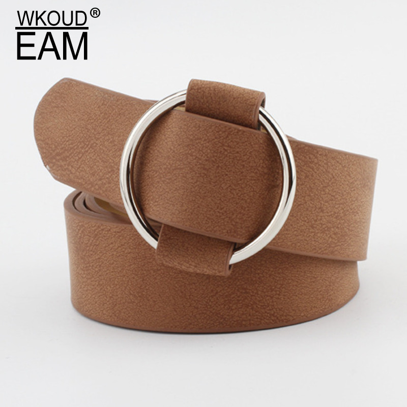 WKOUD EAM 2020 New Needleless Metal Round Buckle Belt For Women Causal Wide Waistband Female Fashion Corset Belt Lady Tide PF182