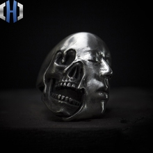 цена на Original Design Handmade Dark 925 Silver Ring Painted Leather Punk Ring Personality Skull Ring Male