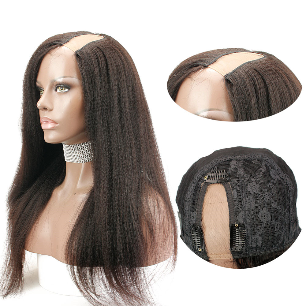 Eseewigs U Part Wig With Straps &Combs Side Openning Human Hair Lace Wigs Italian Yaki Straight Brazilian Remy Hair Machine Made