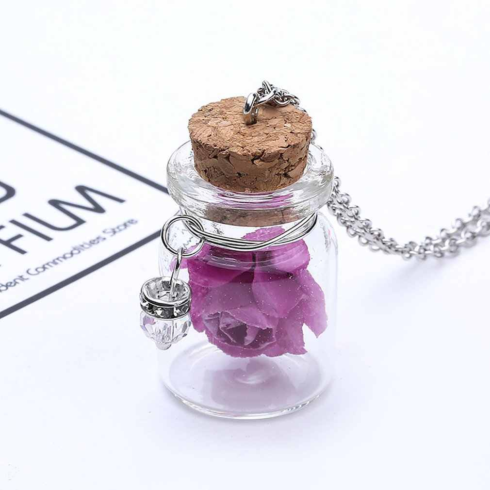 Romantic Luminous Glow In Dark Rose Flower Pendant Necklace Fluorescent Glass Wish Bottle Chain Choker Necklace Gift Jewelry