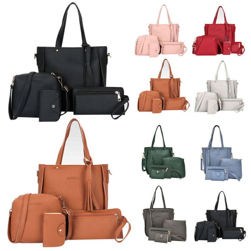 Fashion Women's Shoulder Bag 4Pcs PU Leather Solid Tassel Messenger Bag Portable Purse Clutch Bag Mini Bag